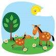 Horse and foal — Stock Vector