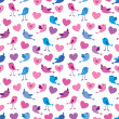 Stock Vector: Birds and hearts pattern