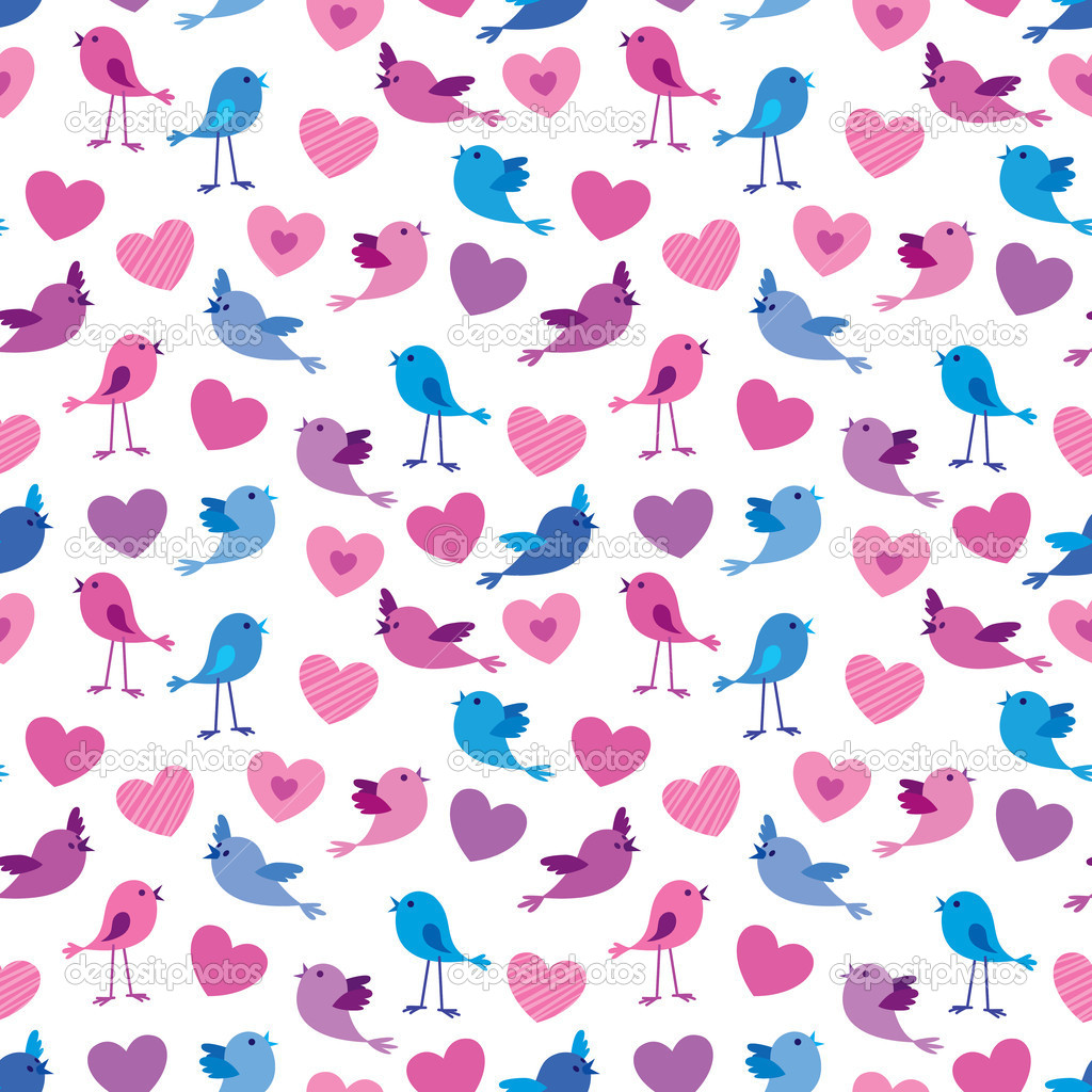Seamless Valentine pattern with cute birds and hears — Stock Vector #9068330