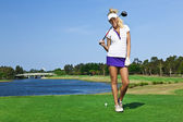 Young golfer girl — Stock Photo
