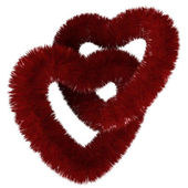 Two fluffy red hearts — Stock Photo