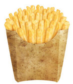 French fries in potato packaging — Stock Photo