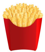 French fries in red packaging — Stock Photo