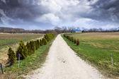 American Farmland with stormy sky — Stock Photo