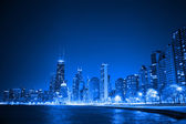 Financial district (night view Chicago) — Stok fotoğraf