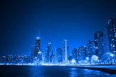 Financial district (night view Chicago) — Stok fotoğraf