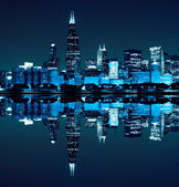 Financial district (night view Chicago) — Stock Photo