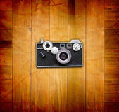 Vintage Pictures and Camera on Wooden Old Table — Stock Photo