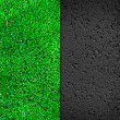 Dark Asphalt and Lawn Background — Stock Photo