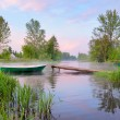 Rural landscape with boat and footbridge on Narew river — Stock Photo #10469287