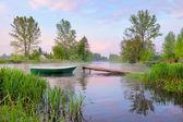 Paysage rural avec bateau et passerelle sur la rivière narew — Photo