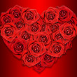 Red roses in the shape of the heart. Red background. — Stock Photo #8619197