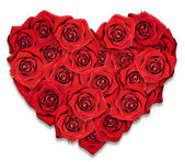 Red roses in the shape of the heart. White background. — Stock Photo