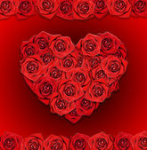 Red roses in the shape of the heart. Postcard. — Stock Photo