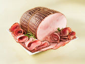 Ham on a plate — Stock Photo
