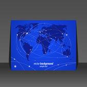 Vector illustration night travel world map flyer design — Stock Vector