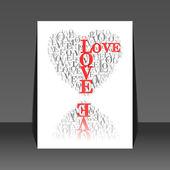 """Een hart gemaakt van woorden """"love"""" flyer ontwerp — Stockvector"""