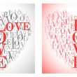 A heart made of words LOVE  flyer design — Stock Vector