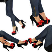A very sexy woman in jeans and high heels - — Stock Photo