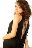 Femme brune sexy en robe de soirée élégante 323 — Photo