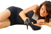 Sexy brunette woman in elegant evening dress 274 — Stock Photo