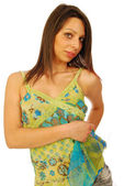 Beautiful seductive brunette in a sexy dress 132 — Stock Photo