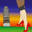 Sexy fashion under the Tower of Pisa - 3 — Stock Photo