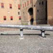 Cannon to defend the castle of the Este family in Ferrara - Ital - Stock Photo