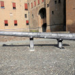 Stock Photo: Cannon to defend castle of Este family in FerrarCity -