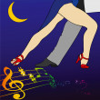 A tango step under a crescent moon — Stock Photo