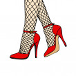 Red High Heels with fishnet stockings — Stock Photo