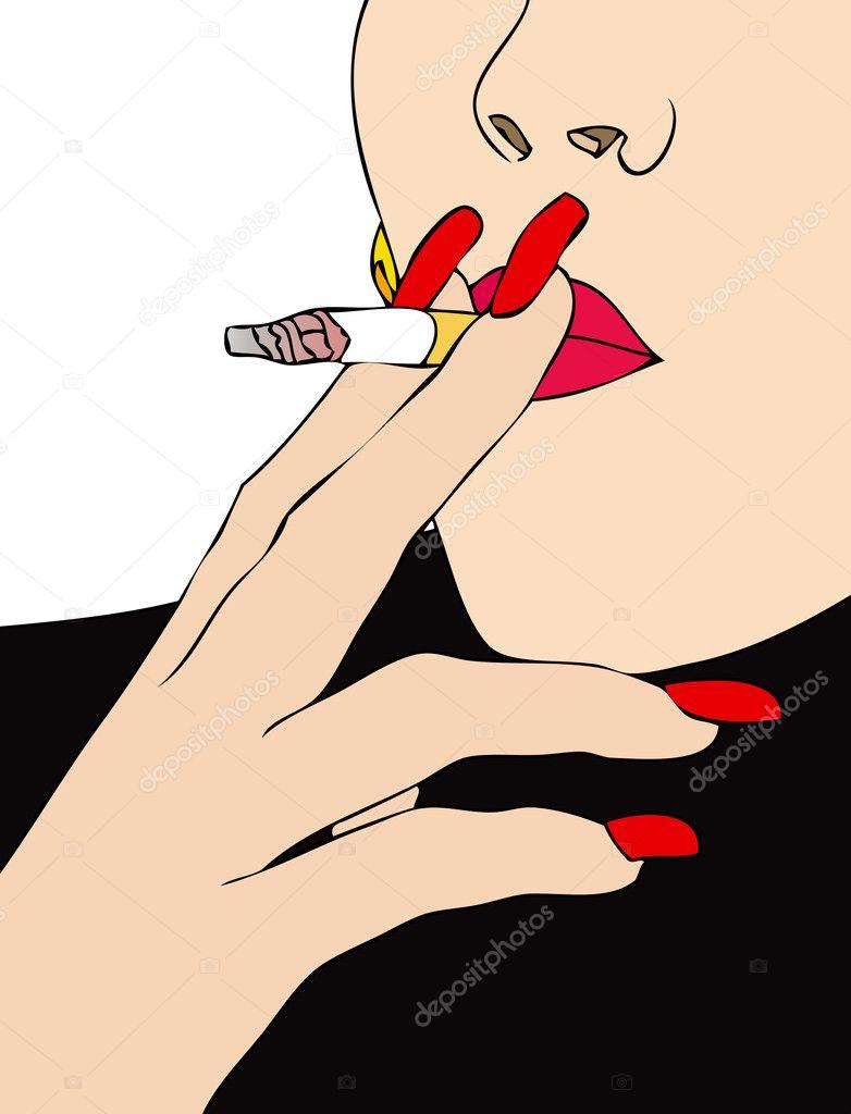 抽烟漫画手绘女生
