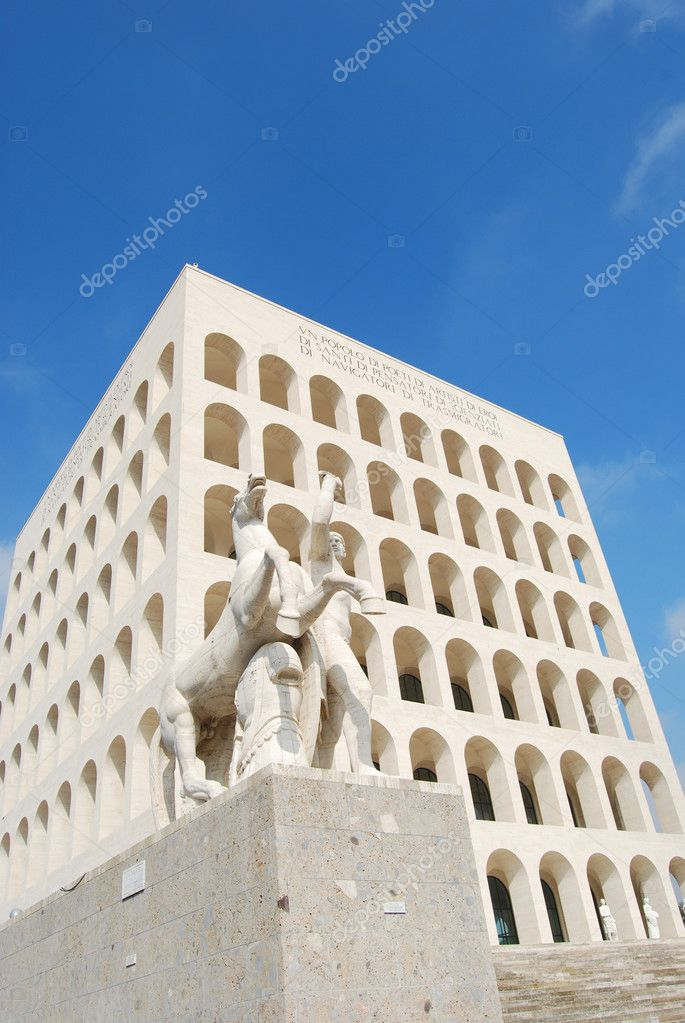 Rome (Palace of Civilization 005) -Rome - Italy - Among fascist architecture and modern architecture — Stock Photo #9589113