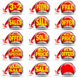 Red Sales Stickers - Foto Stock