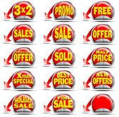 Red Sales Stickers — Stock Photo