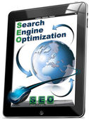 Tablet SEO - Search engine optimization — Zdjęcie stockowe