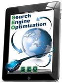 Tableta de seo - optimización para motores de búsqueda — Foto de Stock