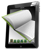 Tablette ordinateur livres — Photo