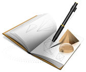 Geometry Book and Pencil — Stock Photo