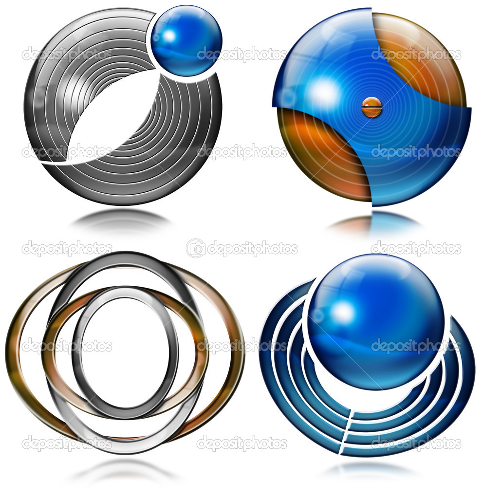 Set of elements for logo design with spheres, circles and ovals  Stock Photo #8587669