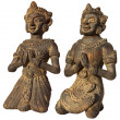 Two Sculptures of Burma (Prayer) on white - Stockfoto