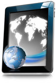 Tablet Computer With World Map — Stock Photo