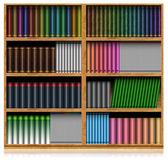 Dřevěná knihovna izolovaných na bílém — Stock fotografie
