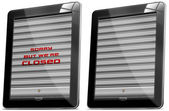 Tablet Computer With Metal Roller Shutter — Stock Photo