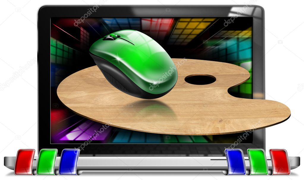 Illustration with a computer, painter's palette, green mouse and multicolored screen — Stock Photo #8957240
