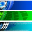 Three Technological Banner blue and green — Stockfoto