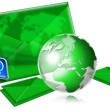 Email Concept With Green Globe — Stock Photo