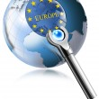 Globe Europe With Magnifying Glass — Stock Photo