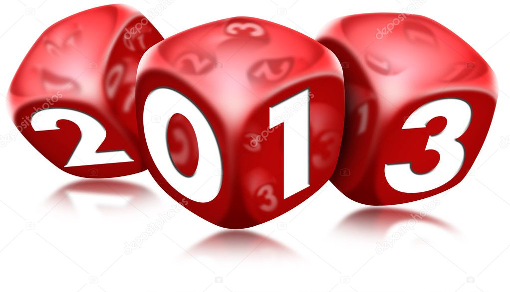 Three red dice with the written 2013 and reflections — Stock Photo #9113258