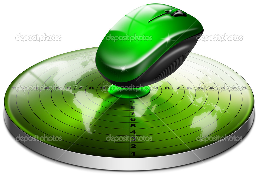 Green target with a mouse and world map on white background  Stock Photo #9178460